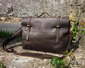 Northern lights leather Messenger | Dark brown