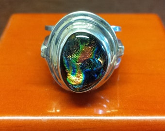 Sterling Silver Ring with Dichroic Glass Cabochon
