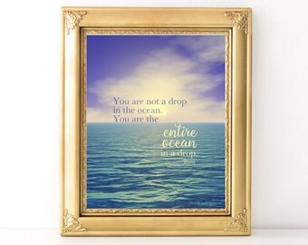 Drop In The Ocean Rumi Quote / Every Day Spirit / Inspirational Quote / Yoga Teacher Gift / Ocean Print / Encouraging Print / Yoga Quote