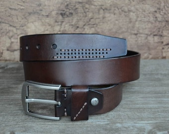 Mens Leather Belt , Mens Belt , Heavy Duty Cowskin Belt , Durable Belt , Top Grain Belt , Dark Brown
