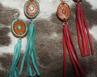 Cowgirl Chic Custom Tooled Leather Concho Earrings