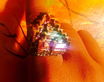 Rainbow Bizmuth and Pyrite Ring.