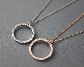 925 Sterling Silver Circle Charm with Cubic Necklace Bridal Necklace Bridesmaid Gift Bridesmaid Necklace Wedding Jewelry