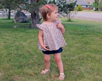 Floral Baby Swing Top, Toddler, Trapeze Top, A-line, blouse,