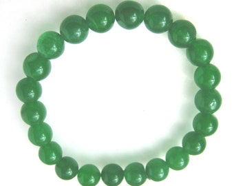 8.5 mm Elastic Green Malay Jade Bracelet - br-jd6