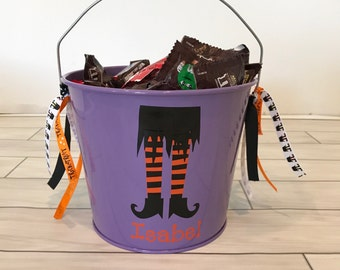 Halloween Bucket- Metal Bucket- Halloween bag- Trick or Treat Bucket- Personalized Halloween Bucket- Personalized Bucket- Witch Feet Bucket