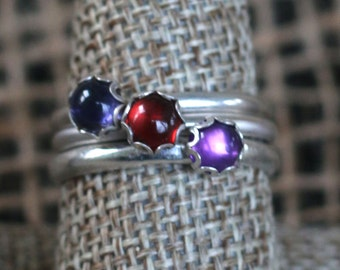 Sterling Silver & Stone Stackable Ring Set sz 9