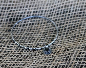 Sterling Silver Bangle with Onyx Charm, Large