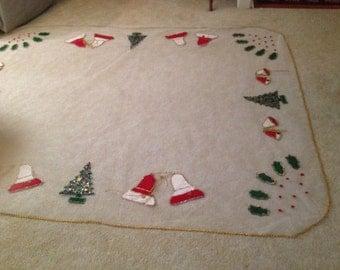 Vintage Handmade Christmas Tablecloth Large