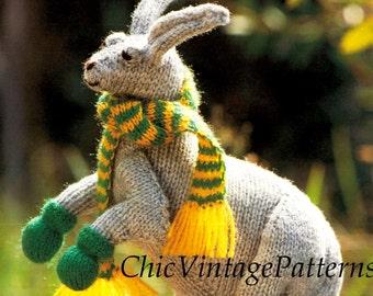 Knitted Kangaroo Pattern ... Toy Pattern ... Vintage PDF Knitting Pattern ... Super Soft Toy ... Australian Kangaroo ... Instant Download