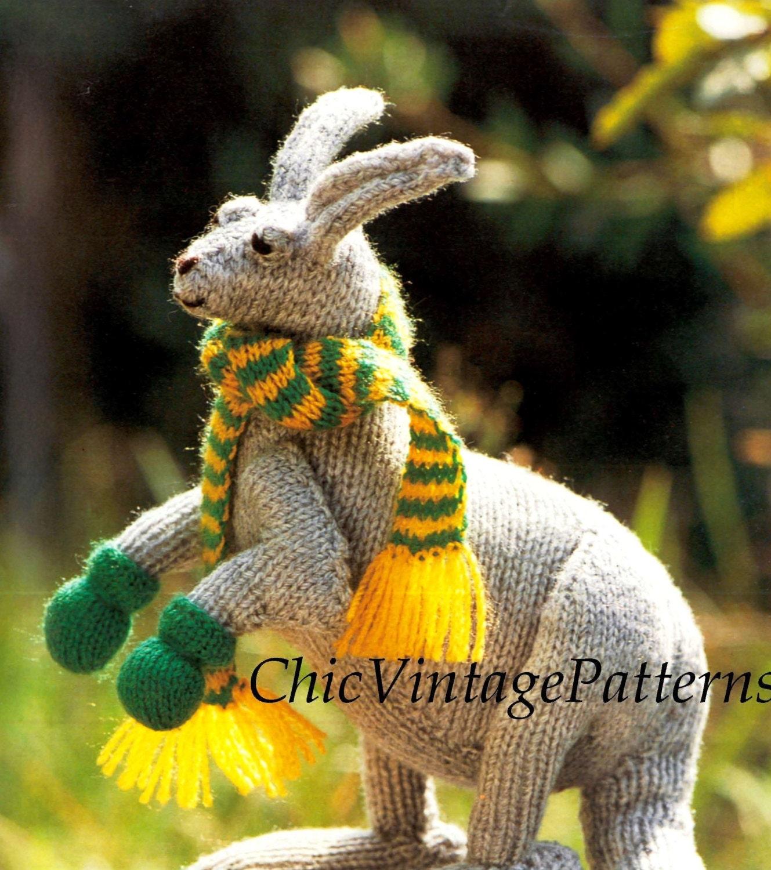Toy Kangaroo Knitting Pattern : Knitted Kangaroo Pattern ... Toy Pattern by ChicVintagePatterns