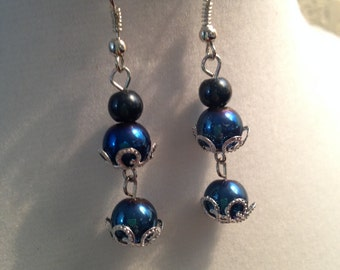 Blue and Silver Beaded Dangle Earrings, Beaded Dangle Earrings, Blue and Silver Beaded Earrings