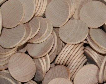 """Natural Unfinished Beveled Edge Wood Circle Discs 1-1/2"""""""