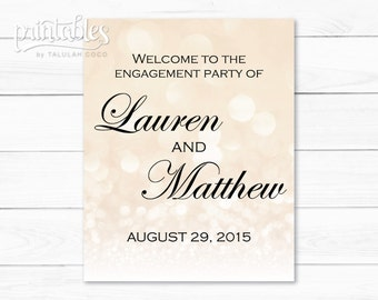 Engagement Party Welcome Sign, Beige Bokeh Lights, Sparkle Engagement Party Sign, Glitter Engagement Sign, Elegant Engagement Party Decor