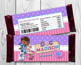 DIGITAL FILE Doc McStuffins Candy Bar Wrapper - Doc McStuffins Chocolate label - Doc McStuffins Printables - Doc McStuffins Hershey