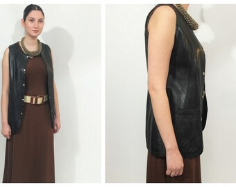 Black leather 80s vest / Black grunge leather waistcoat /Summer black leather jacket womens / Black leather waistcoat /Womens leather gilet