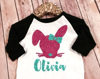 Monogram Name Glitter Easter Bunny Raglan, Easter Glitter Shirt, Glitter Easter Raglan, Baby girl Easter shirt, Toddler Easter shirt, Easter