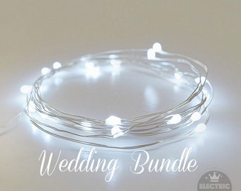 Winter Wedding Decor String Lights Fairy Lights Wedding Decoration Cool White Leds Centerpieces Battery Operated 6.6ft White Wedding