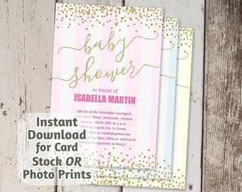 Printable Baby Shower Invitation - Gold Glitter for Boy, Girl, & Neutral - Digital File Instant Download - Photo Prints or Card Stock