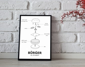 Printed design burger - illustration and decoration