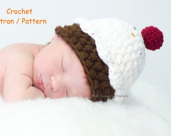 crochet PATTERN Cupcake hat for new born, child, teen and adult