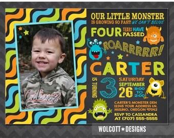 Little Monster Invitation, Monster Birthday, Monster Party, Monster Birthday Invitation, First Birthday