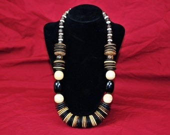 Vintage-African-Haute Couture-Hand Made Tribal-Mixed Ohome Wood Bead and Wafer Necklace