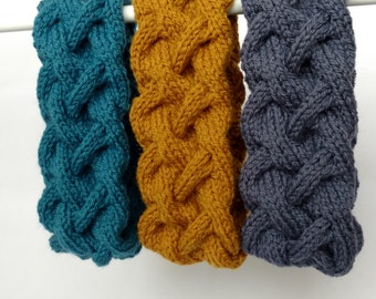 Wool Headband Headwrap, Women Ear Warmer, Braided Warm Headband, Cable Knit Headband, Cosy Accessory, Headwrap, Blue Pink Green EarWarmer