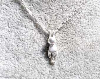 Necklace - Cat Necklace - Silver Cat Necklace - Hanging Cat Necklace - Cat Jewellery -