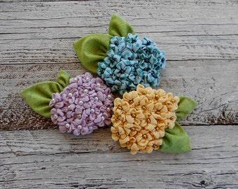 Hydrangea Textile Brooch, Icon Pin.Cute Textile  Brooch, Handmade art brooch, Flower Textile  Brooch