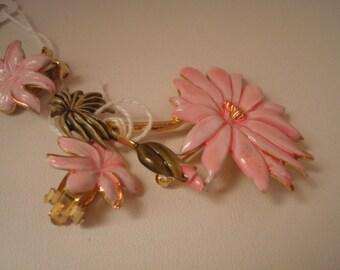 Vintage Rafaelian enamel pin and clip on earrings