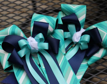 Teal and Navy Zig Zag Show Bows