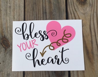 Bless your Heart Iron-On Vinyl Decal~Glitter Bless your Heart Iron-On Vinyl Decal~ Iron-On Vinyl Decal