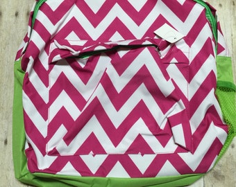 Personalized pink and lime green Chevron Print Book Bag Monogram Canvas Book bag Personalized Backpack, Kids Backpack, Personalized Book bag