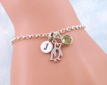Silver Penguin Bracelet, Penguin Jewelry, Animal Bracelets, Animal Charms, Tiny Penguin Charm Bracelet, Personalized Jewelry