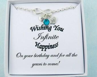 Infinity Birthday Bracelet, Silver Infinity Bracelet, Friendship Gift, Birthday Gift, Happy Birthday Message Card, Personalized Infinity