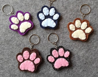 Felt Keychain with paw/Footprint