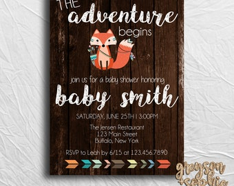 Woodland Tribal Themed Baby Shower Invitation, Fox Invitation, The Adventure Begins, Printable