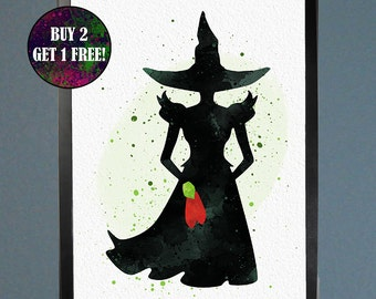 Wizard of Oz Wicked Witch Watercolor Fine Art Print Wall Poster Home Decor Painting Giclee Illustration No 189