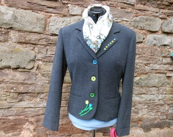 Spring tulips jacket, ladies applique tweed jacket, tweed upcycled blazer, short jacket