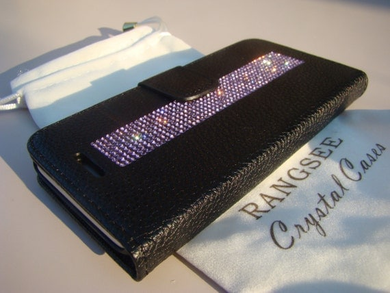 iPhone 7 Case Purple Amethyst Rhinestone Crystals on Black Wallet Case. Velvet/Silk Pouch bag Included, Genuine Rangsee Crystal Cases.