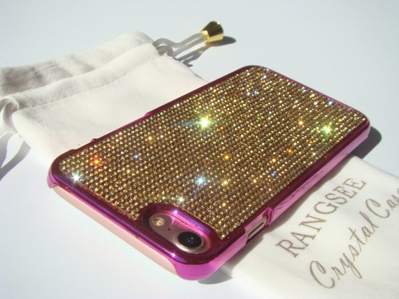 iPhone 7 Case Gold Topaz Rhinstone Crystals on iPhone 7 Pink Chrome Case. Velvet/Silk Pouch Included, Genuine Rangsee Crystal Cases.