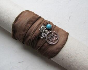 Wrap bracelet, silk bracelet, lotus bracelet, yoga bracelet