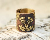 Scotland carduus ring - Brass etched ring - Free-size floral thistle ring