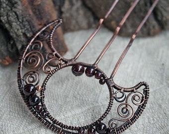 Garnet Hair comb - Hair moon fork - Wire wrapped hair accessories - Copper hair pin
