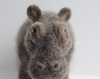 Needle Felted Hippopotamus, Needle Felted Hippo, Hippo Sculpture, Hippopotamus Sculpture