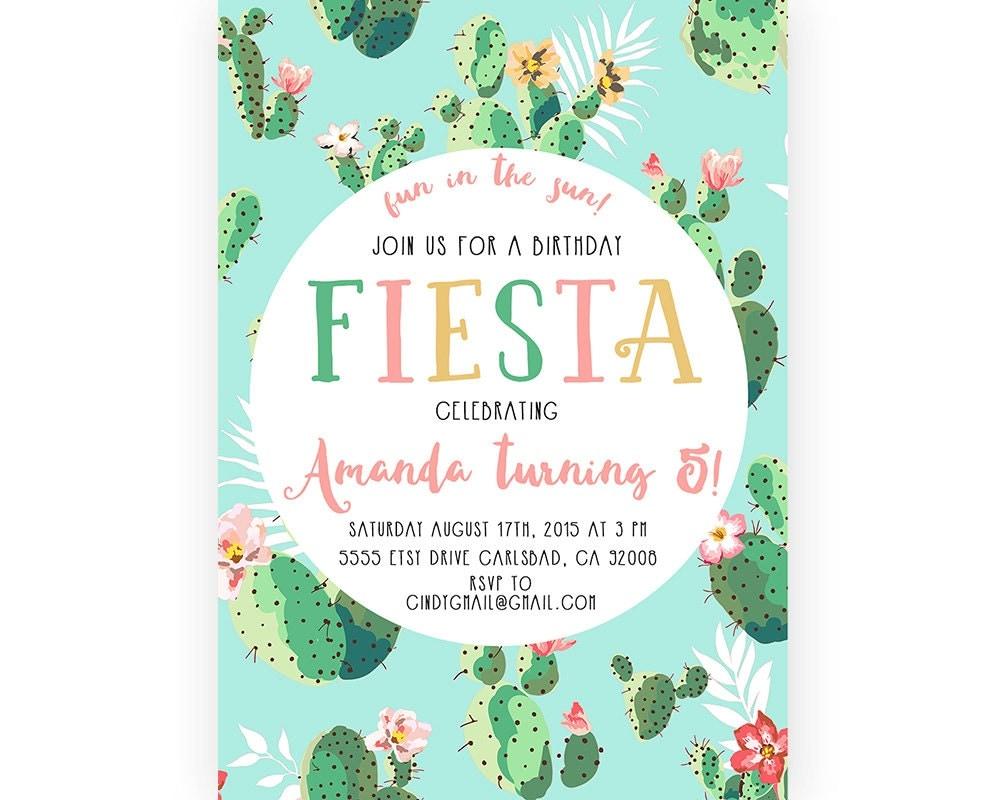 Fiesta birthday party invitation cactus boho printable - Fiesta baby shower ...