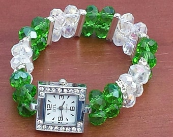 2 Strand Clear & Green Faceted Glass Stretch Watch Bracelet