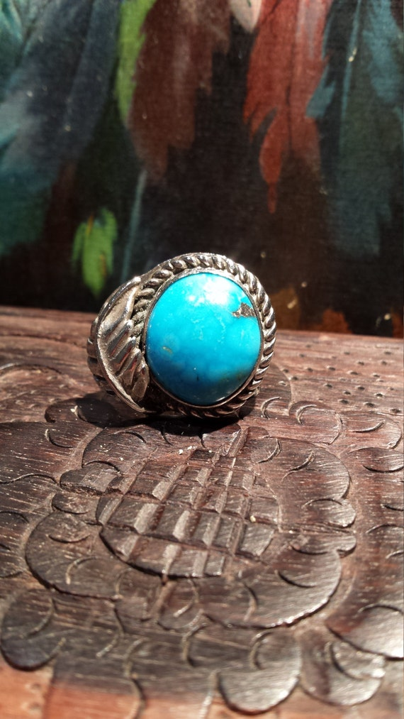 Sterling silver vintage native American turquoise ring size 5 1/4