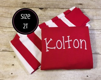 2T Childrens Red and White Striped Christmas Pajamas Infant Cotton Soft Winter